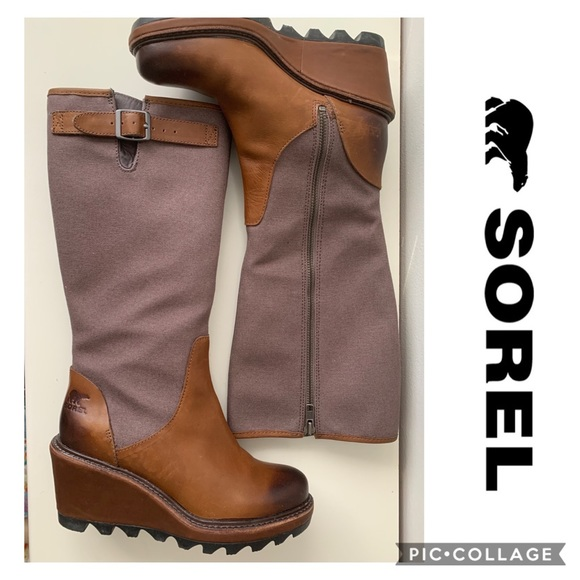SOREL Leather Boots Tall Wedge Size 6 Winter Fall